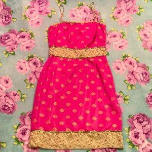 Vtg Pink Green Gold Brocade Jacquard Sequin Dress